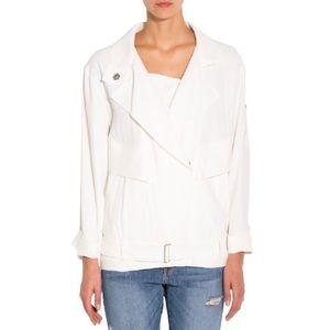 IRO Dixia Moto Jacket in White Size 40